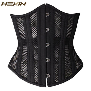 26 Double Steel Boned Breathable Corset Waist Trainer Shaper With Plus Size Gothic Underbust