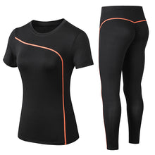 Load image into Gallery viewer, Women 2 piece Set Gym Clothes Shirt + Seamless Leggings Activewear