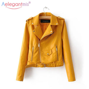 Autumn New Short Faux Soft Leather Jacket Women Fashion Zipper Motorcycle PU