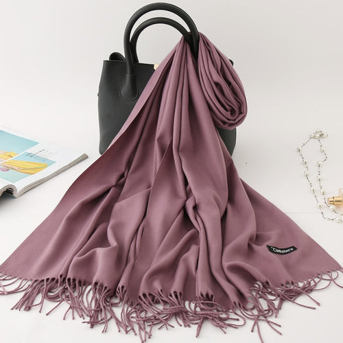Winter scarf solid thick women cashmere scarves neck head warm hijabs pashmina lady shawls and wraps bandana Tassel