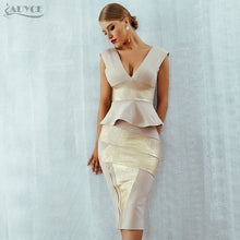 Load image into Gallery viewer, Ruffles New Women Bodycon Set Sleeveless V-Neck Front Zipper Bandage Dress