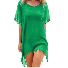 Load image into Gallery viewer, Chiffon Tassels Beach Wear Women Swimsuit Bathing Suits Summer Swimwear Mini Dress Loose Cover Ups