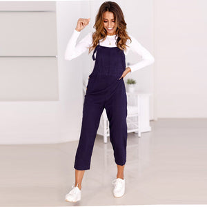 Bib Overalls For Women Rompers Backless Jumpsuit Strap Slim Trousers Playsuit Summer Casual