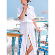 Load image into Gallery viewer, Chiffon Bathing suit cover up Button Long Women Maxi Beach Dress