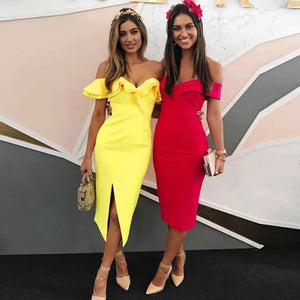 Sexy Off Shoulder Women Bandage Dress Vestidos Ruffles Slash Neck Club Dress Celebrity Party Runway Dress