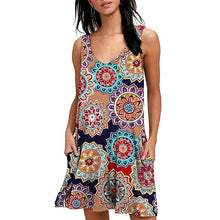 Load image into Gallery viewer, Women Beach Dresses Summer Ladies Casual Loose Cover Ups Rose Print Sleeveless Pocket Beachwear Mini Bathing Suit