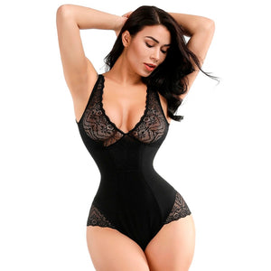 Sexy Deep V Bodysuit Women Full Body Girdle Shapers Leotard Bodies Control Tummy Butt Lift Lace Shaper