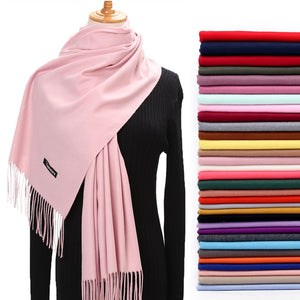 Women Winter Scarf Pure Cashmere Scarves Thick Neck Warm Headband Hijab Lady shawls Wraps Blanket Pashmina Female