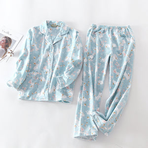 New Pajamas Women Kawaii Cartoon Pajamas 100% Brushed Cotton Female Cute Night Suit Long Sleeve Sleepwear Big yard S-L