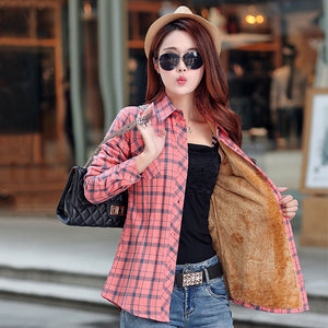 New Winter Warm Women Velvet Thicker Jacket Plaid Shirt Style Coat  Casual Jacket Outerwear