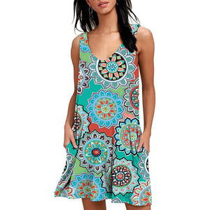 Women Beach Dresses Summer Ladies Casual Loose Cover Ups Rose Print Sleeveless Pocket Beachwear Mini Bathing Suit