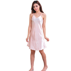 Oversize Female Satin Nightgown Lady Sexy Spaghetti Strap
