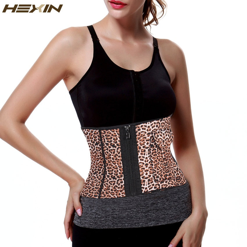 Extra Firm Control Waist Girdle Leopard Zipper Shapers Corset With Pocket (Multi One Size)