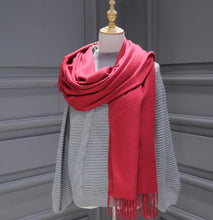 Load image into Gallery viewer, Women solid color cashmere scarves with tassel lady long scarf high quality hot sale