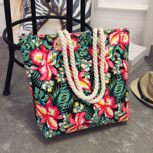 Casual Women Floral Large Capacity Tote Canvas Shoulder Bag Shopping Bag Beach Bags Casual Tote