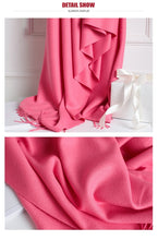 Load image into Gallery viewer, Winter Cashmere Women Scarf Female Luxury Brand Scarves Lady Tassel Bandana Women Solid Shawl Wraps Foulard Tippet