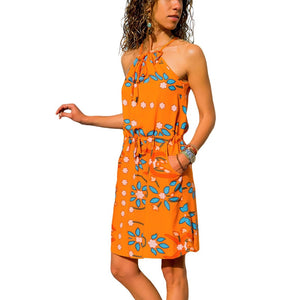 Beach dress boho floral plus size bohemian mini chiffon vestido  short flower chic sun ladies