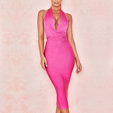 Load image into Gallery viewer, New Summer Women Bodycon Bandage Dress Sexy Halter V Neck Backless Club Dress Rose Red Knee Length Celebrity Evening Runway Party Dress