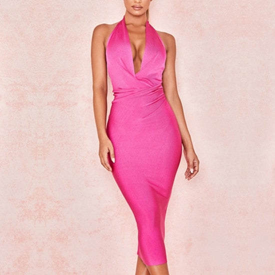 New Summer Women Bandage Sexy Halter V Neck Backless Knee Length Party Dress