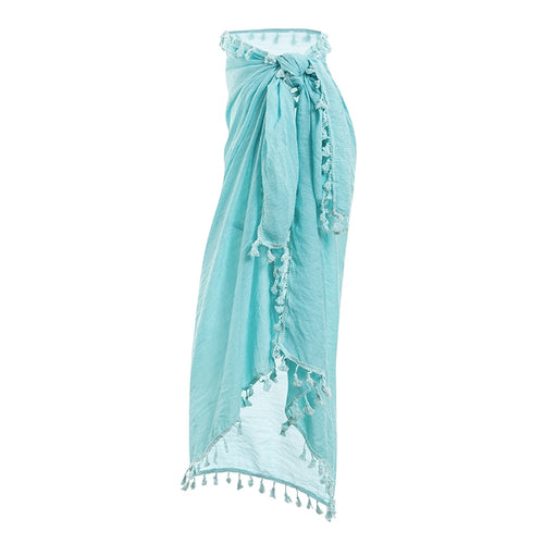 Sexy Beach Cover Ups tassel Wrap Skirt Bikinis Swimsuit Female Swimwear Women Solid Summer Beach Wear Chiffon Sarongs