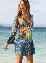 Load image into Gallery viewer, Summer Style Women Sexy Swimsuit Cover Up Long Sleeve Bikini Chiffon Flower Beach Mini Dress Robe