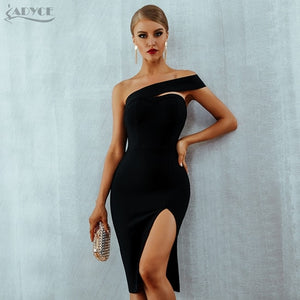White Bodycon Bandage Dress Women Vestidos Summer Sexy Elegant Black One Shoulder Midi Celebrity Runway Party Dresses