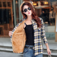 Load image into Gallery viewer, New Winter Warm Women Velvet Thicker Jacket Plaid Shirt Style Coat Female College Style Casual Jacket Outerwear