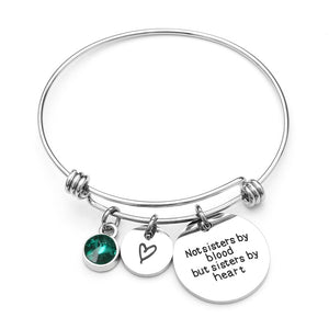 Best Friend Birthday Gift Birthstone Charm Bracelet for Women Stainless Steel with Quote Sister