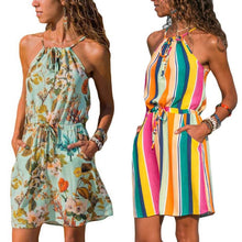 Load image into Gallery viewer, Beach dress boho floral plus size bandage bohemian casual mini chiffon vestido  summer short flower chic sun ladies dresses