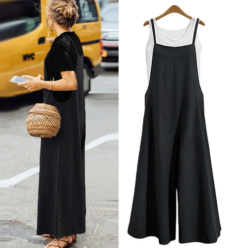 Plus Size S-3XL Women Cotton Pocket Long Wide Leg Romper Strappy Dungaree Bib Overalls Casual Loose Solid Jumpsuit