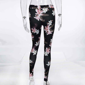 Women's Fitness Suits Crop Tank Workout Floral Printed Top And Legging Pants 2 Pieces Set Summer Ladies Sexy Tracksuit