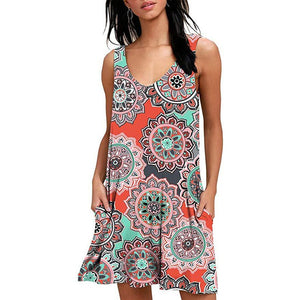 Women Beach Dresses Casual Loose Cover Ups Rose Print Sleeveless Pocket