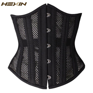 26 Double Steel Boned Breathable Corset Heavy Duty Waist Trainer Shaper With Panel Plus Size Gothic Underbust Bustier