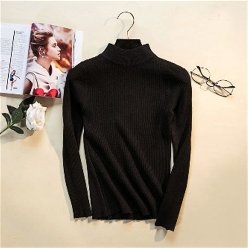 Autumn Winter Women Pullovers Sweater Knitted Elasticity Casual Jumper Turtleneck Warm Sweaters