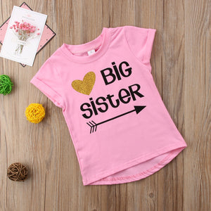 New Little Sister Baby Girls Romper Big Sister T-shirt Tops Tee Matching Outfits