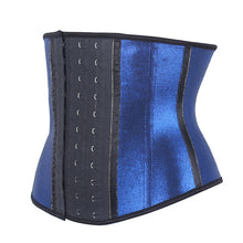 Load image into Gallery viewer, 100% Rubber Latex Gilding Blue Strench Waist Trainer 3 Hooks Body Shaper  Fajas Reductoras Shapewear Corsets