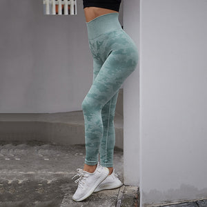 Women Seamless Tummy Control Yoga Pants High Waist Sport Leggings Stretch Fit Gym Tights Camouflage Workout Running Pants