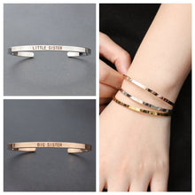 Load image into Gallery viewer, Big Sister Little Sister Engraved Cuff Bracelet Sisters Bracelet Silver Rose Gold Family Bracelets Bangle Gifts