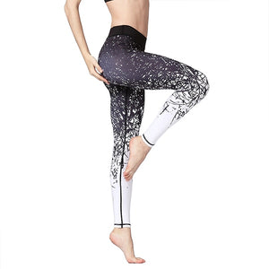 Women's Ankle Length Printed Quick Dry Pants Gym Leggings Stretch Fitness Athletic Tights