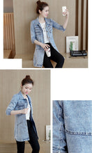Load image into Gallery viewer, Autumn Winter Denim Jacket Women Slim Long Base Coat Women's Frayed Navy Blue Plus size Jeans Jackets Coats Cool 5XL