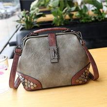 Load image into Gallery viewer, Women Handbag Leather Small Doctor Bag Women Shoulder Bag Female Crossbody Handbag Lock Chain Rivets Girls Vintage Women Bags