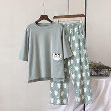 Load image into Gallery viewer, New Women Pajama Set Soft Cat Cartoon Printing Home Cotton Sleepwear (as the photo One Size)