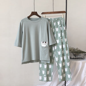 New Women Pajama Set Soft Cat Cartoon Printing Home Cotton Sleepwear (as the photo One Size)