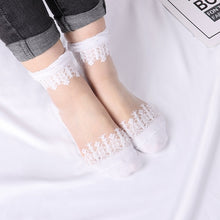 Load image into Gallery viewer, Elastic Socks Crystal Glass Silk Ultrathin Lace Literary Sale 5 Pairs Summer Transparent Short Socks
