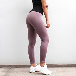 New Dry Fit Gym Tights Energy Seamless Tummy Control Yoga Pants High Waist Sport Leggings Purple Running Pants Women