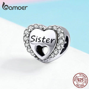 925 Sterling Silver My Sweet Sister Heart Charm Fit  Bracelet Necklace Metal Bead Accessories Jewelry Making