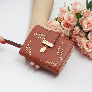 New Women Wallets Ladies Buckle Hollow Leaf Purse Card Holder