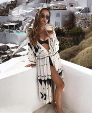 Load image into Gallery viewer, Swimsuit Cover Up Women Pareo Print Cardigan Bathing Suit (white One Size)