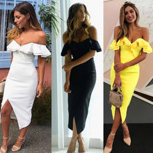 Load image into Gallery viewer, Sexy Off Shoulder Women Bandage Dress Vestidos Ruffles Slash Neck Club Dress Celebrity Party Runway Dress