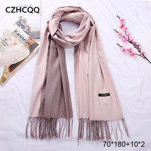 Load image into Gallery viewer, New Double Sided Winter Women Cashmere Solid Pashmina Shawls And Wraps Female Head Scarves